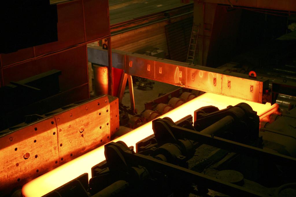 Anlage zur Oberflächen- und Dickenvermessung von heissen Brammen (System for surface and thickness measurement of hot slabs)